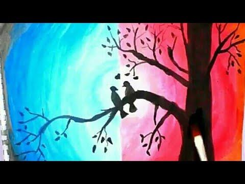 رسم منظر طبيعي سهل جدا بالالوان المائية رسم سهل رسم للاطفال خطوة