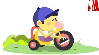 Flat Vector Illustration with Basic Shapes - Kid Riding Tricycle | Inkscape