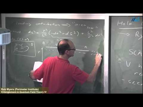 Rob Myers (Perimeter Institute) Entanglement in Quantum Field Theory IV