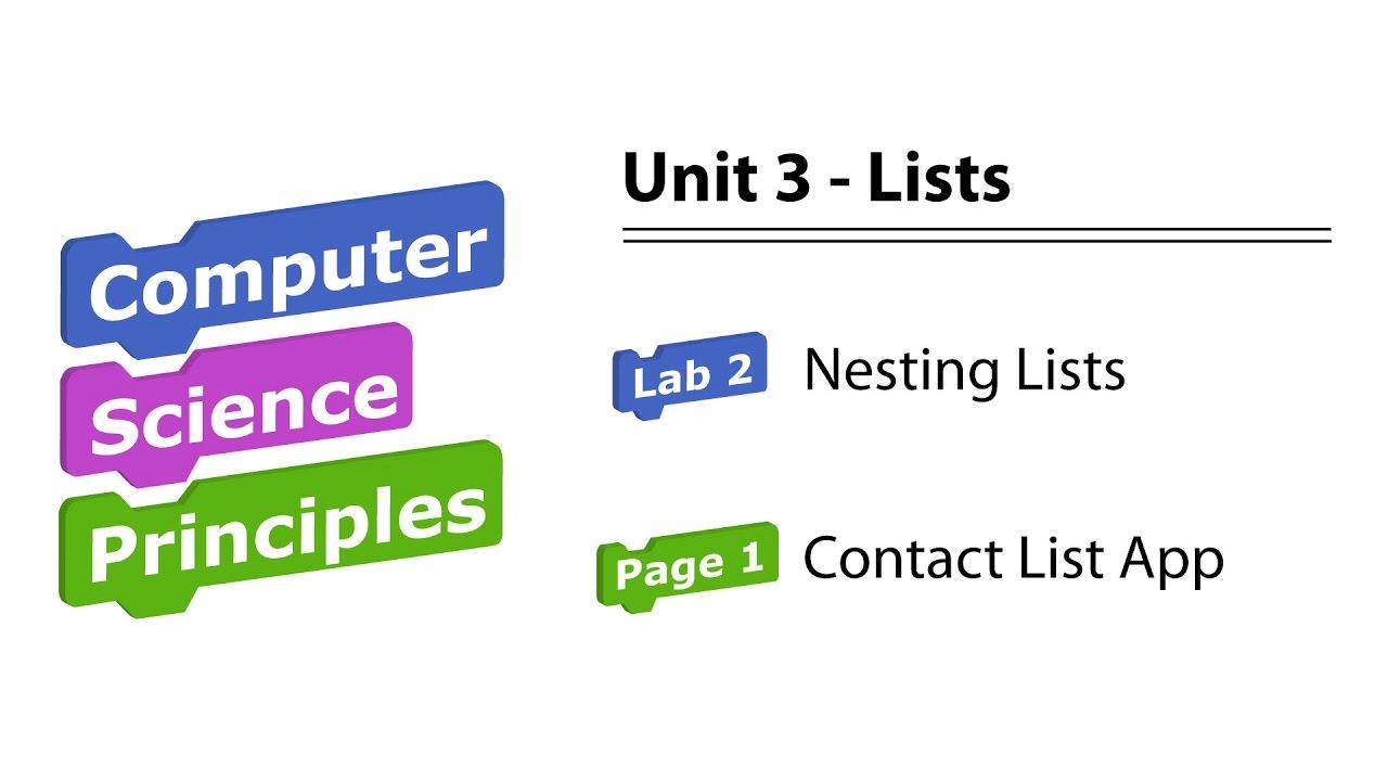 U3L2 Contact List App (pg 1) BJC / Snap! Programming