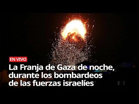 La Franja de Gaza de noche, durante los bombardeos de las fuerzas israelíes