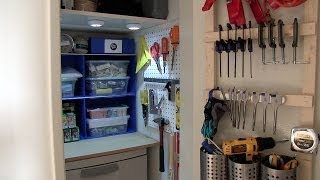 "Have a small closet? Quick ""no tools needed"" extra shelving, a DIY door organizer, lighting and a dresser can organize it to really"