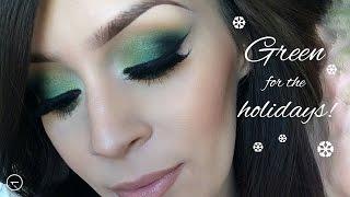 Holiday makeup tutorial l Green christmas Thumbnail