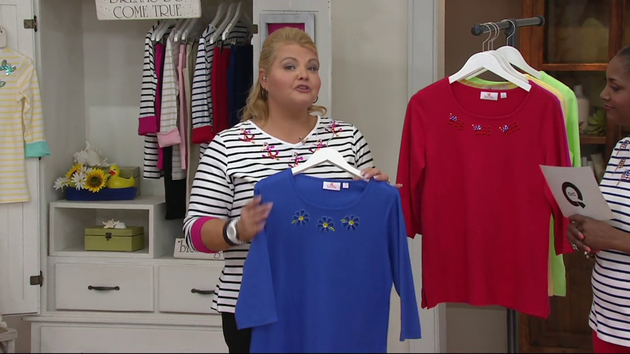Quacker Factory Springtime Cut Out 3 4 Sleeve T Shirt On Qvc Youtube