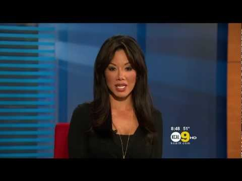 Sharon Tay 2011/12/09 8PM KCAL9 HD; Black top, panda noises