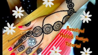 How to apply easy simple circular henna mehndi designs for hands tutorial eid,marraige 2017