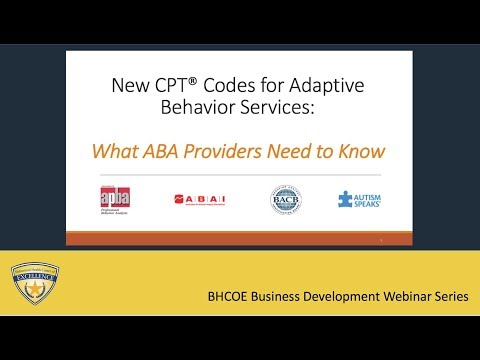 New CPT Codes For Adaptive Behavior Services What ABA