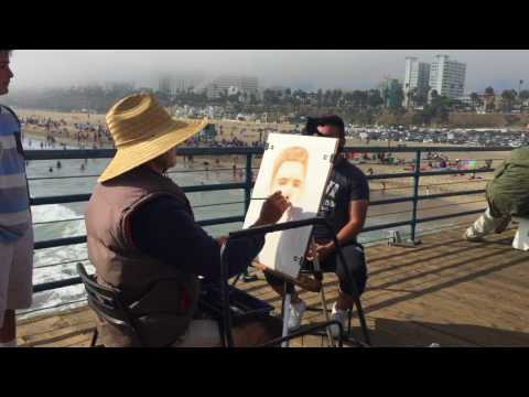 Artist Drawing Picture At Santa Monica Pier - Free Stock Footage