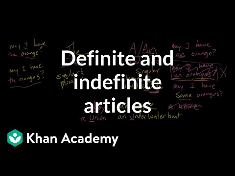 Definite and indefinite articles   The parts of speech   Grammar   Khan Academy
