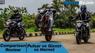 Pulsar NS 160 vs Suzuki Gixxer vs Honda CB Hornet 160R - Comparison Review | MotorBeam
