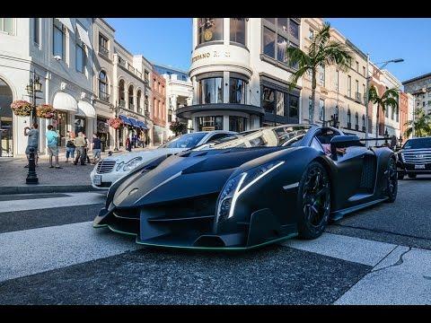 Lamborghini Veneno Roadster Driving In Beverly Hills