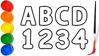 Drawing Alphabet and Number for Children   How to draw ABC And Number Learn color  Coloring for Kids