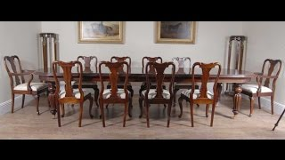 14 Ft Victorian Dining Table And Queen Anne Chair Set Suite