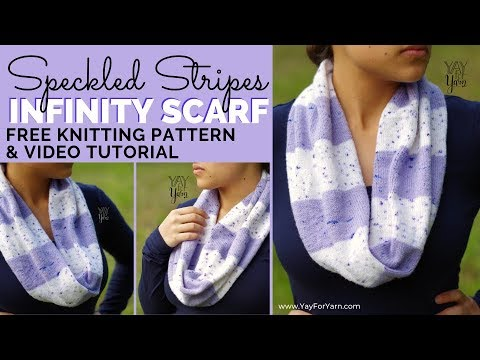 Speckled Stripes Infinity Scarf - Free Knitting Pattern | Yay For Yarn