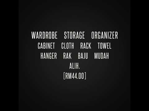 Wardrobe Storage Organizer Cabinet  Cloth Rack  Towel Hanger  Rak Baju Mudah Alih.