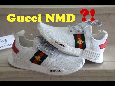 e650a235758 First Look at Gucci x Adidas Primeknit NMD White Bee - YouTube