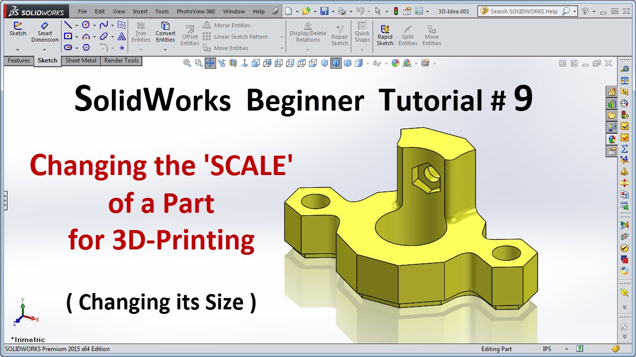 solidworks 2015 tutorial 009 scale a part for 3d printing [ 1280 x 720 Pixel ]