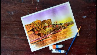 How to Paint Varanasi Ghat | Watercolor Painting Art Lesson