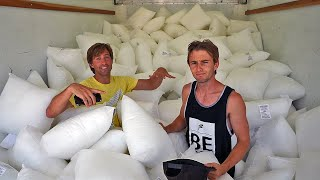 Moving Truck full of 1000 PILLOWS! *Last Standing Wins*