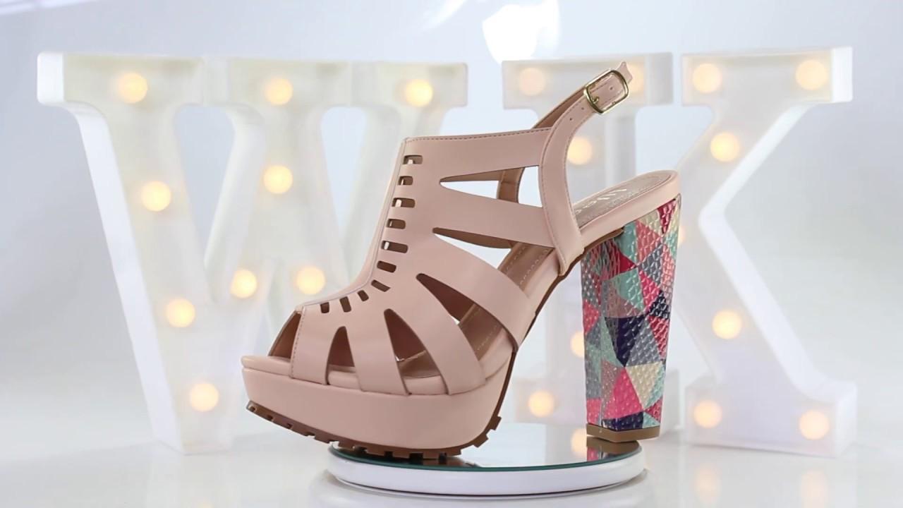 Sandália Salto Grosso Tratorada Week Shoes Rosê