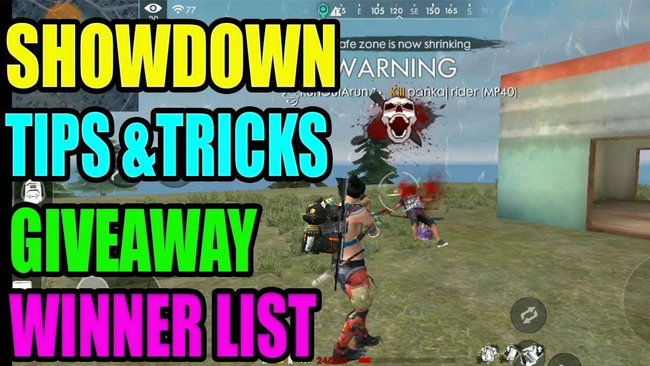 Showdown tips and tricks|| Giveaway winner list || free fire tricks and tips
