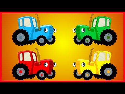 Разноцветные трактора - Учим цвета - Фрукты - YouTube