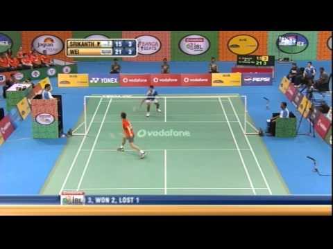 K Srikanth Vs Lee Chong Wei   Men's Singles   Awadhe Warriors Vs Mumbai Masters 2013