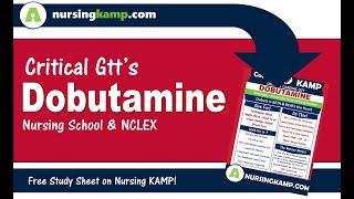 Starting ICU Nursing Medical School Drip Dobutamine for cardiogenic shock sepsis 2018