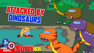 Captain Marvel is attacked by dinosaurs - Among Us Marvel - Among Us Marvel
