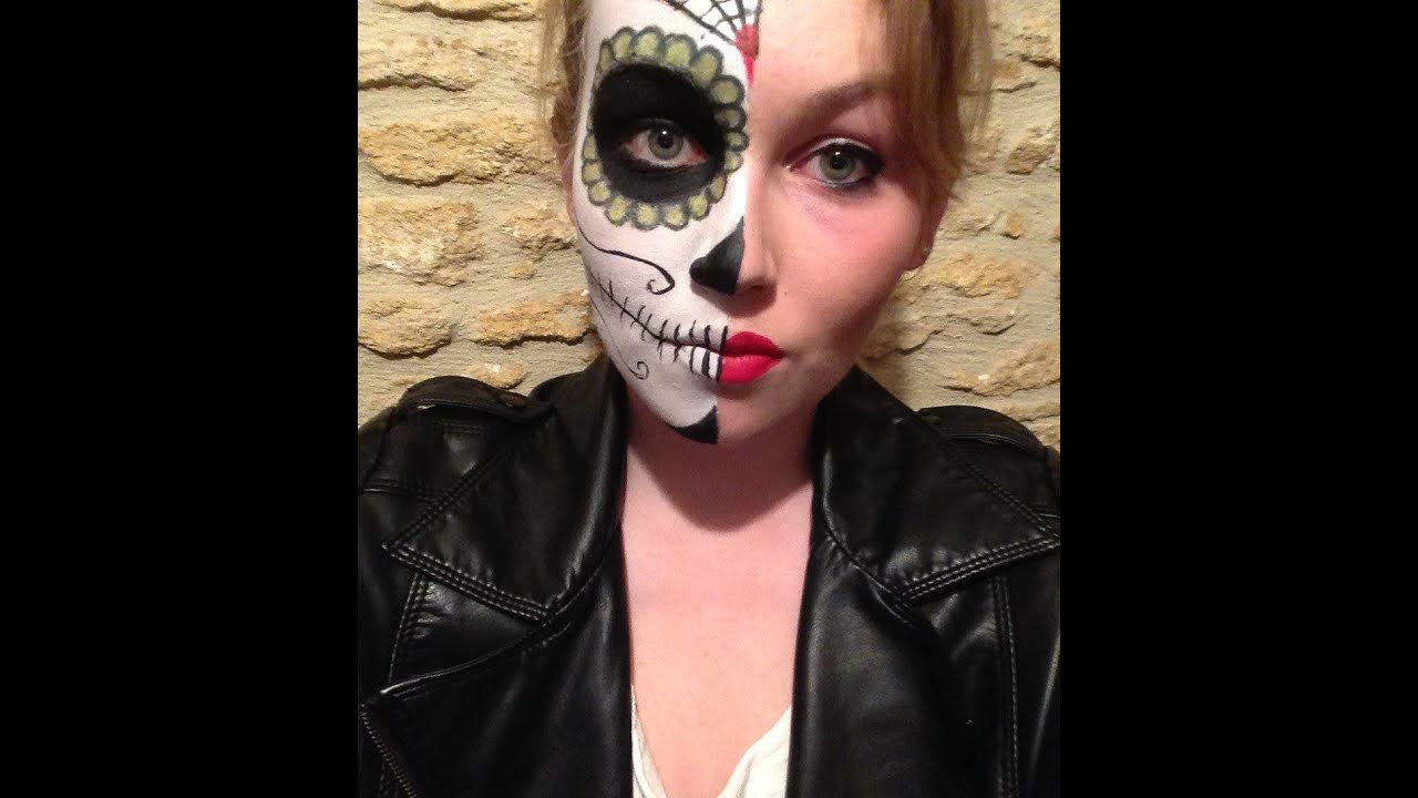 Maquillage Halloween Facile/Easy Halloween make up - Santa Muerte ...