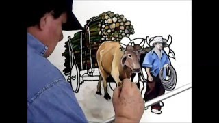 Carro de Boi - Oxcart. Painting with Miguel Gui
