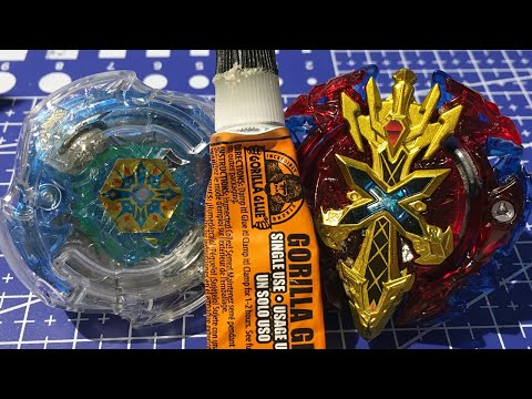 SUPER GLUE BATTLE! Modded Xeno Xcalibur & Deathscyther - Illegal Beyblade Burst Combos