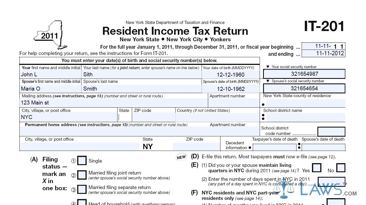 Form IT 201 Resident Income Tax Return - YouTube