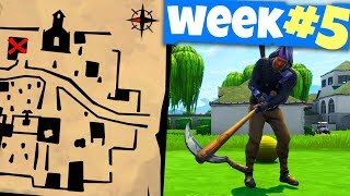 SNOBBY SHORES TREASURE MAP - Fortnite WEEK 5 Challenges Guide