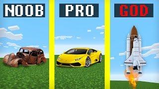 Noob vs Pro vs Hacker vs God : RACE ON CARS in Minecraft battle family challenge