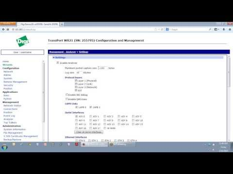Digi TransPort Tech: Using the Event Log and Packet Analyser