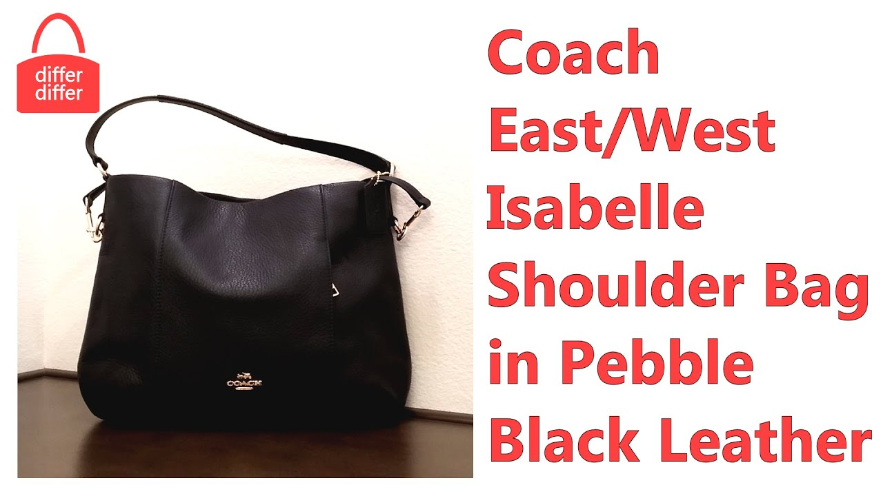 a6355d3bb939 Coach East West Isabelle Shoulder Bag in Pebble Black Leather 35809 ...