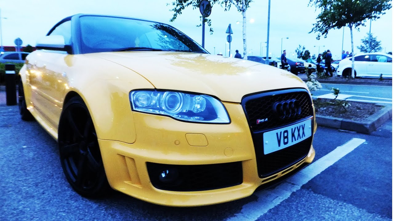 Modified Yellow Audi RS4 Sound w/ Decatted Exhaust - YouTube