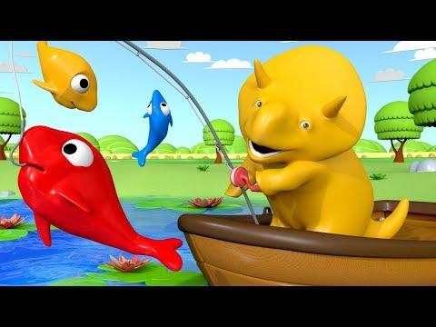 Dino va à la pêche - Apprendre les couleurs avec Dino le Dinosaure 👶 Dessin animé éducatif