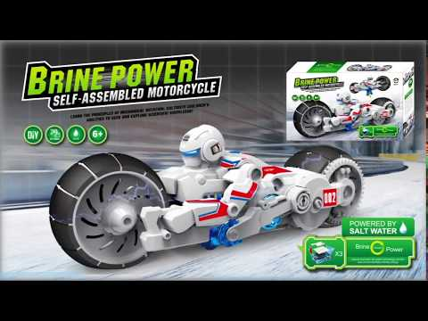 Innovation saltwater power battery as driving force, DIY electric motorcycle toys,new energy toys