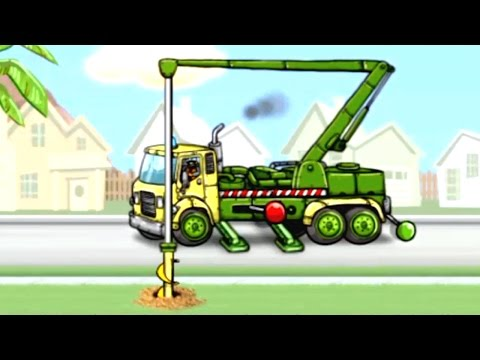 [ ใหม่ ] การ์ตูนรถเครน รถขุดเจาะ ภารกิจขุดเจาะดิน ก่อสร้าง รถแม็คโครตักดิน DRILL TRUCK