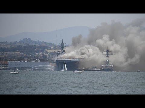 شاهد: كارثة على متن سفينة  -بونوم ريتشارد- الحربية الأمريكية …  - نشر قبل 6 ساعة