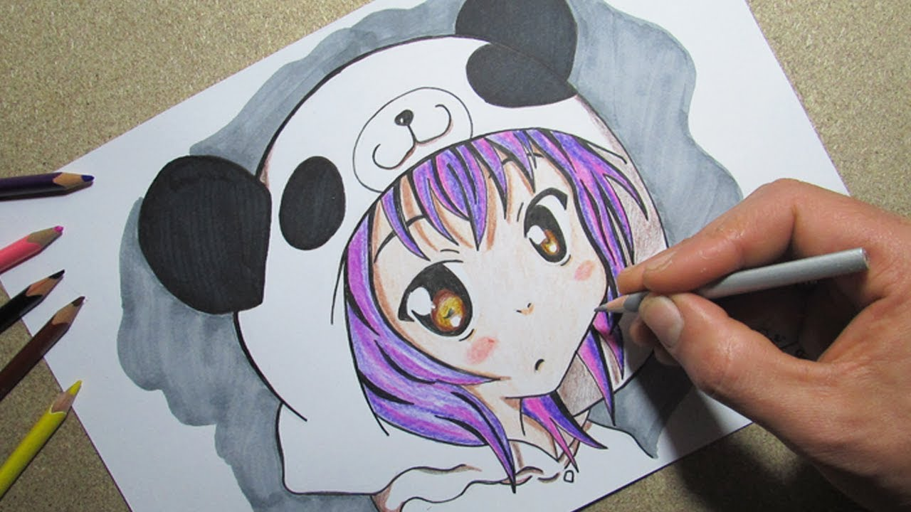 Desenhando Menina Panda Fofinha Drawing Panda Girl Tumblr