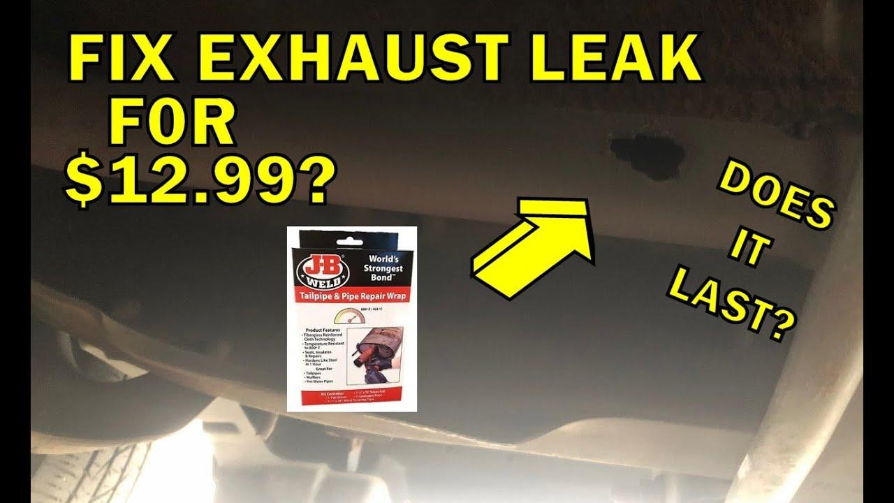 fixing exhaust leak with jb weld pipe repair wrap