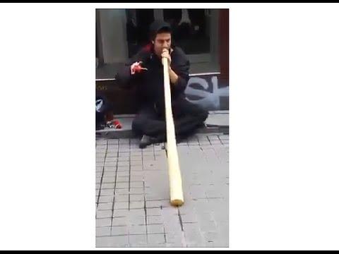 Amazing Street Musician with a Didgeridoo