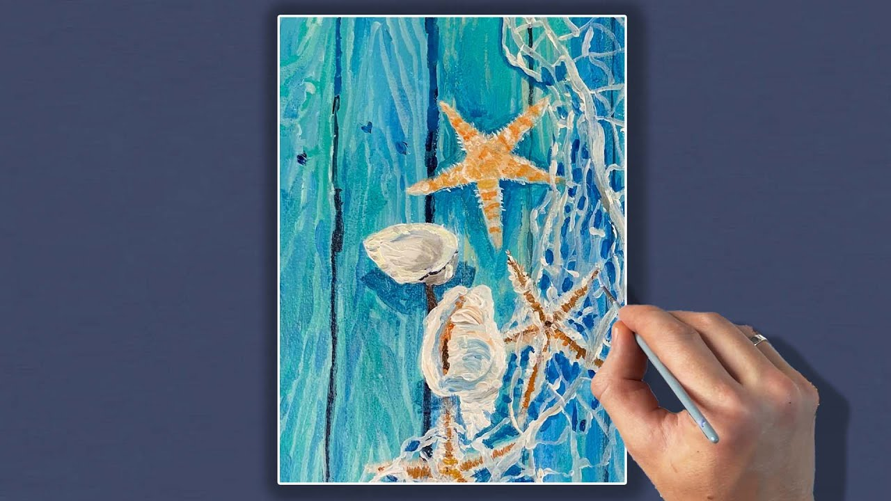 Морской натюрморт |Рисуем вместе акрилом