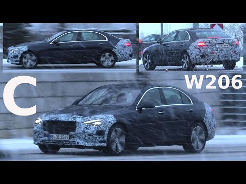 Mercedes Erlkönig * C-Klasse W206 2021 im Schnee * C-Class prototype on snowy road * 4K SPY VIDEO