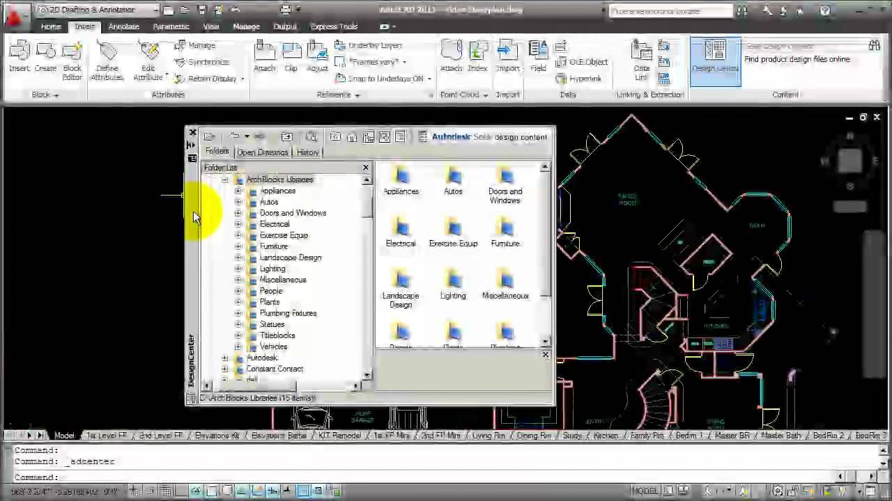 Autocad How To Use Design Center Youtube