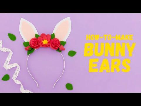 DIY FELT BUNNY EARS HEADBAND |  BUNNY FELT FLOWERS CROWN | FELT EASY CRAFT IDEA