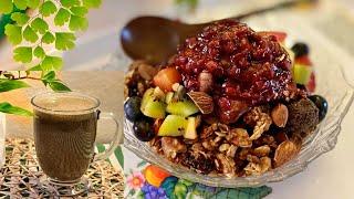 집에서 만든 검은콩, 검은깨, 흑미 미숫가루로 팥빙수 …